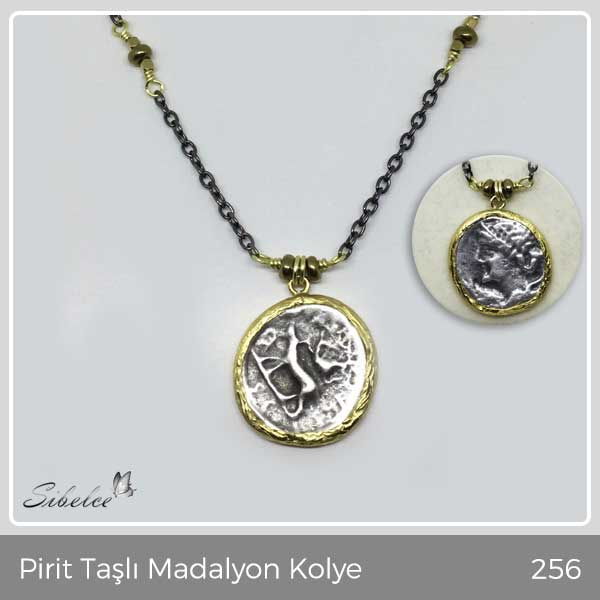 Pirit Taşlı Madalyon Kolye